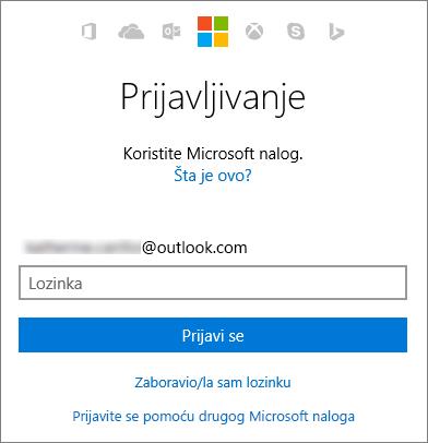 Snimak ekrana koji prikazuje ekran za prijavljivanje na Microsoft nalog