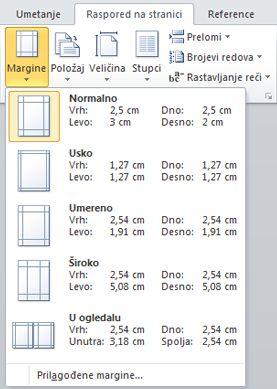 """Galerija margina na kartici """"Raspored na stranici"""", u grupi """"Podešavanje stranice"""""""