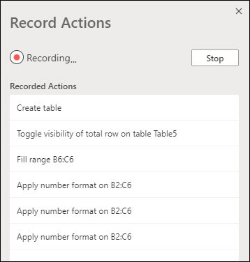 Kada snimite Office tekst, videćete opis onoga što svaki korak radi.
