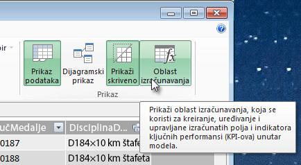 Oblast izračunavanja u programskom dodatku Power Pivot