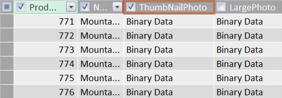 Primer binarne kolone sličice