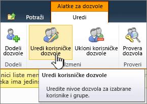 Uređivanje korisničkih dozvola
