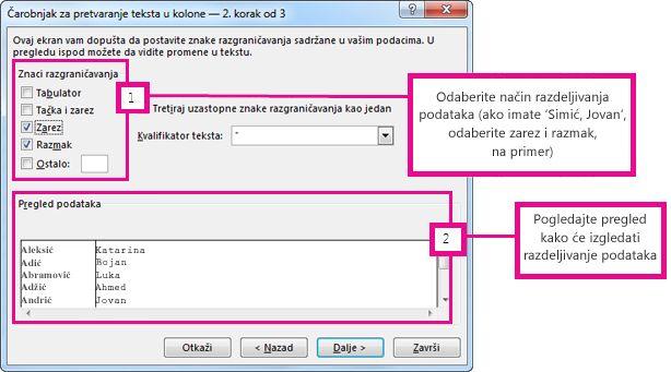 2. korak u čarobnjaku za konvertovanje teksta u kolone
