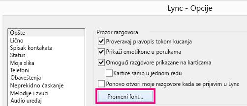 """'Snimak ekrana prozora """"Opšte opcije"""" programa Lync sa izabranim dugmetom """"Promeni font""""'"""