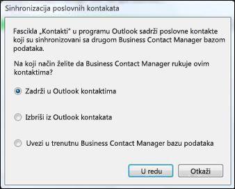 dijalog sinhronizacije poslovnih kontakata