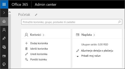 Prikazuje Office 365 centar administracije.