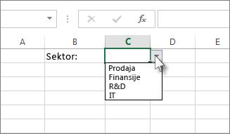 Uzorak padajuće liste u programu Excel