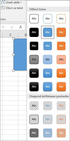 Galerija stilova oblika koja prikazuje nove unapred podešene stilove u programu Excel 2016 za Windows