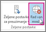 Dugme za rad van mreže u programu Outlook 2013