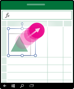 Slika koja prikazuje kako se menja veličina oblika, grafikona ili drugog objekta