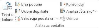 """Grupa """"Alatke za podatke"""" na kartici """"Podaci"""""""