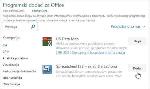 Snimak ekrana prikazuje Office programski dodaci stranicu gde možete da izaberete ili potražite programski dodatak za Excel.