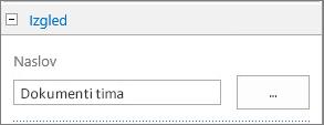 "Promenite naslov podrazumevane biblioteke dokumenata u ""Dokumenti tima"""