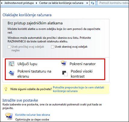 Dijalog Windows centra za lakše korišćenje računara u kojem možete da odaberete pomoćne tehnologije