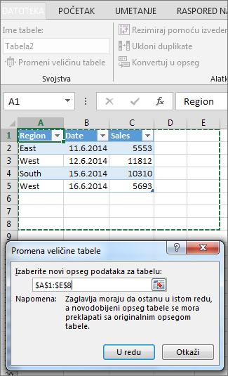 Promena veličine tabele