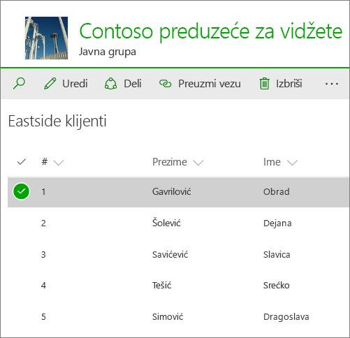 Lista u programu SharePoint na mreži