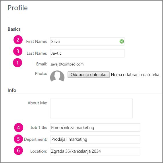 Snimak ekrana profila polja koje je u usluzi Yammer