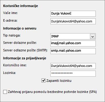 Unesite informacije o serveru za Yahoo