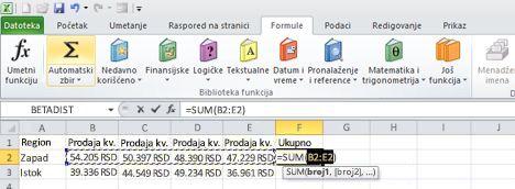 Korišćenje automatskog zbira za brzo sabiranje reda podataka