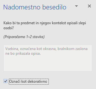 "Word Win32 okno ""Alternativni tekst"" za dekorativne elemente"