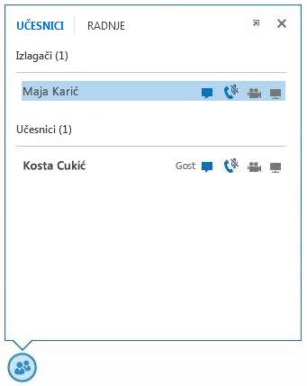 snimak ekrana ikona pored imena učesnika koje pokazuju dostupnost mogućnosti razmene trenutnih poruka, audio i video mogućnosti i mogućnosti deljenja