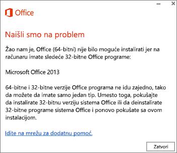 """Poruka o grešci """"Nije moguće instalirati 32-bitni Office preko 64-bitnog sistema Office"""""""