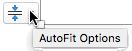 Opcije automatskog uklapanja alatka se pojavljuje kada je čuvar mesta popunjena sa tekstom