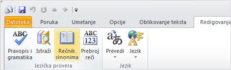 "Ikona ""Rečnik sinonima"" na Outlook traci"