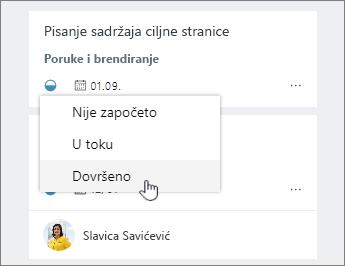 Kliknite na ikonu napredak i promena statusa