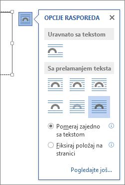 Opcije rasporeda za okvir za tekst