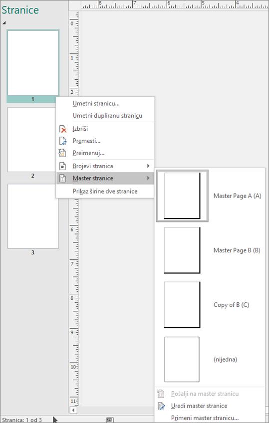 Snimak prikazuje opcije menija prečicu koju ste izabrali za Master stranice sa master stranicu opcije dostupne.