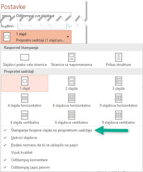 Štampanje brojeva slajda na propratnom sadržaju.
