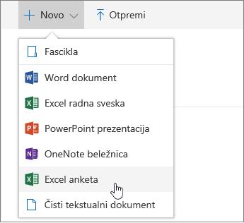 """Meni """"Novo"""", komanda """"Excel anketa"""""""