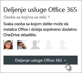 """Snimak ekrana odeljka """"Deli Office 365"""" sa stranica sa nalogom koji prikazuje pretplatu se dele sa 1 osoba."""