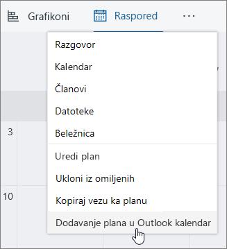 Snimak ekrana planer menija Dodaj plan Outlook kalendar izabran.
