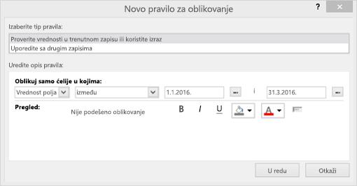 Snimak ekrana interfejs novo pravilo za oblikovanje