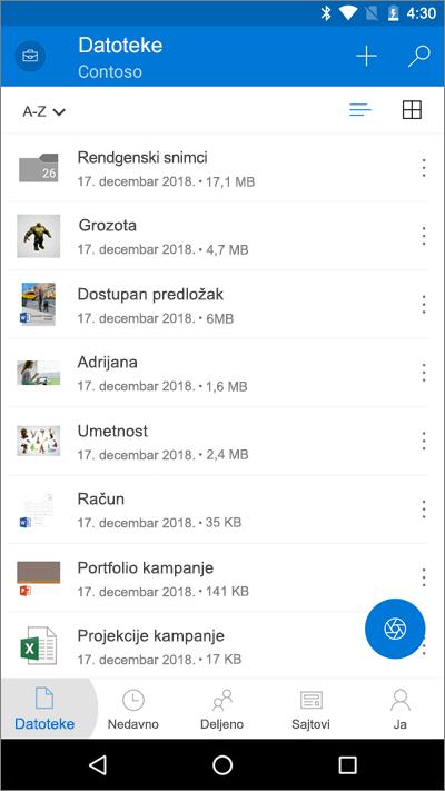 """Snimak ekrana OneDrive aplikacije za mobilne uređaje na kojem je istaknuto dugme """"Datoteke"""""""