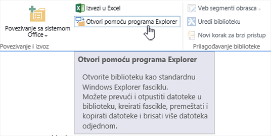 SharePoint 2016 Otvori pomoću programa Explorer u IE11