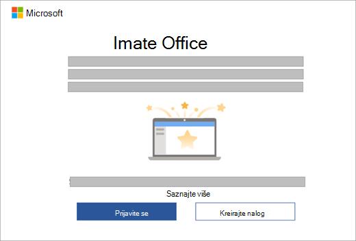 Prikazuje dijalog koji se pojavljuje kada otvorite Office aplikaciju na novom uređaju koji sadrži Office licencu.