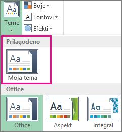 """Prilagođene teme otvorene pomoću dugmeta """"Teme"""""""