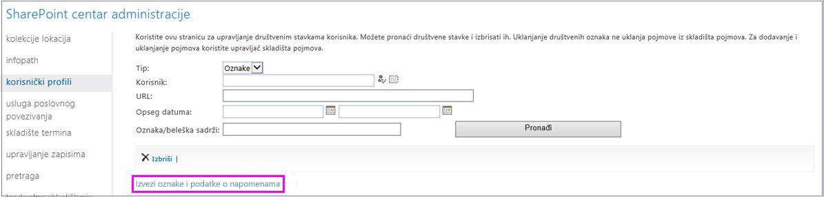 Snimak ekrana sa markiranom vezom za izvoz