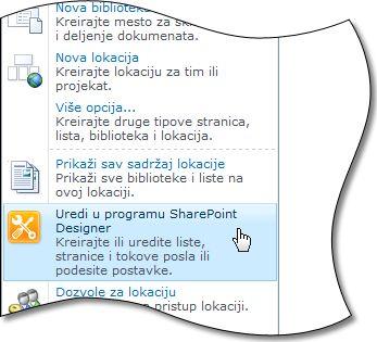 """SharePoint Designer 2010 u meniju """"Radnje na lokaciji"""""""