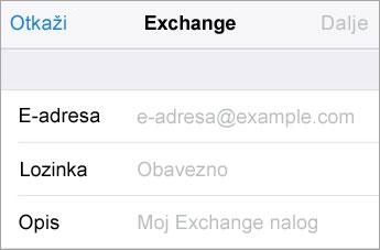 Exchange za prijavljivanje