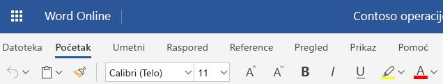 Pojednostavljena traci u programu Word Online