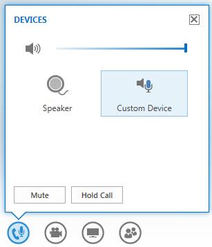 snimak ekrana opcija koje se prikažu kad se pokazivač zadrži na dugmetu za zvuk