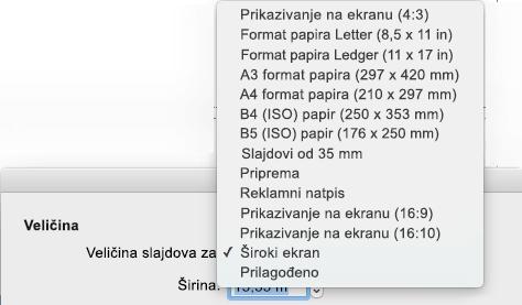 """Postoji nekoliko unapred definisanih opcija veličine slajda u dijalogu """"Podešavanje stranice"""""""