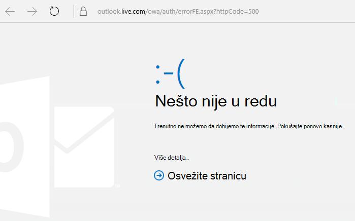 "Outlook.com kôd greške 500 ""Nešto nije u redu"""