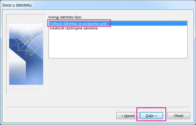 """Odaberite Outlook datoteku sa podacima (.pst), a zatim kliknite na dugme """"Dalje"""""""