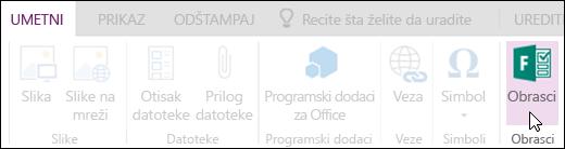 Opcija umetanja obrazaca u usluzi OneNote Online