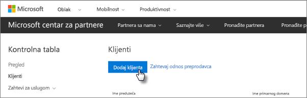 U Microsoft centru za partnere dodajte novog korisnika.